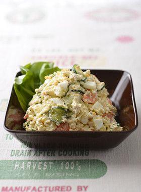 TOFU POTATO SALAD, NO POTATO【糖質オフ】豆腐のポテトサラダ風 (firm tofu, cucumber, carrot, mayo)