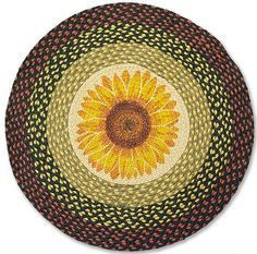 Country Rug (Sunflower Round Rug) braided kitchen rug country decor