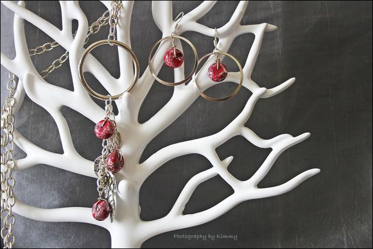 Red natural stone beads necklace and earrings, set or separates