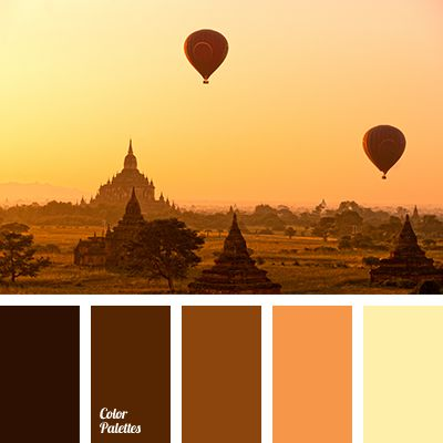 brown, chocolate color, color of dawn, color palette for decor, light yellow, Orange Color Palettes, pale yellow, pastel brown, selection of color, shades of brown, warm chocolate, Yellow Color Palettes.