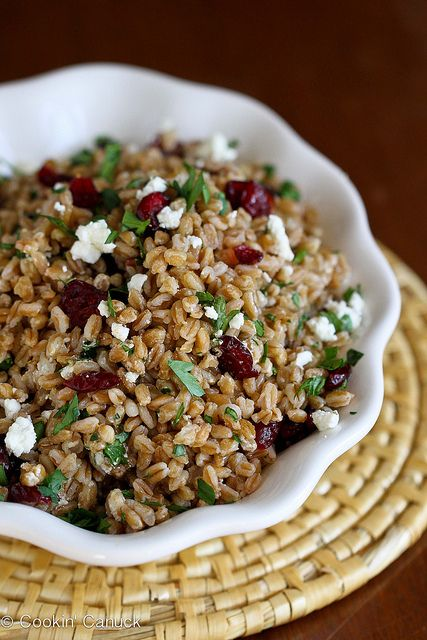 Easy Farro Salad with Goat Cheese & Cranberries Recipe | Cookin' Canuck #salad #farro #wholegrain by CookinCanuck, via Flickr