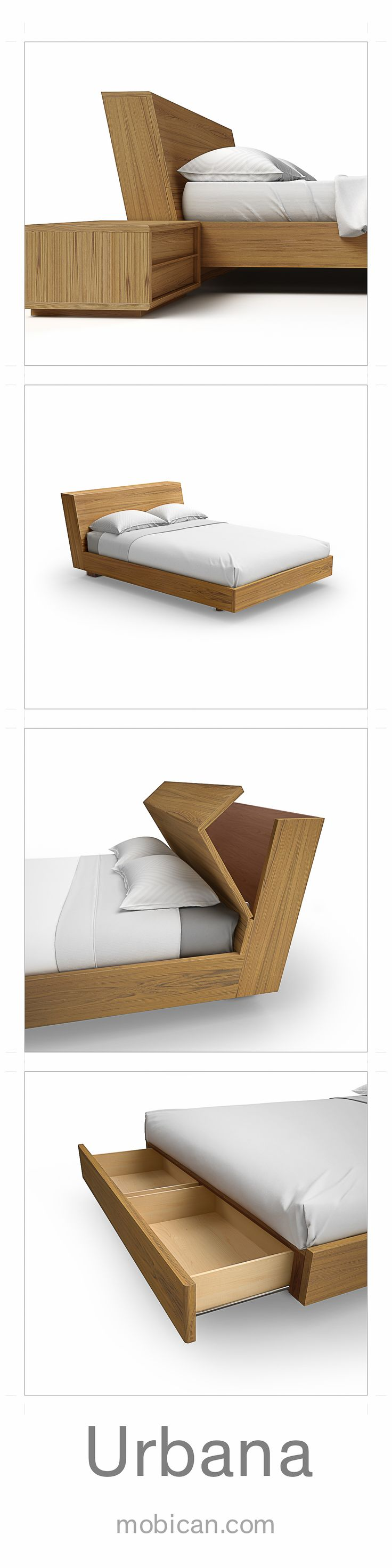 Click here to see the incredible details that are part of Mobican's Urbana bed / Cliquez ici pour voir les détails du lit Urbana de Mobican: http://mobican.com/en/urbana-chambre-a-coucher/ #mobican #bedroom #bed #storage #madeincanada #contemporary