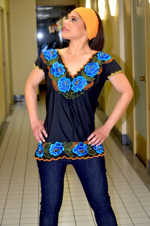 Embroidered Mexican Blouse/Tunic/ Huipil by Vtgantiques on Etsy, $54.99