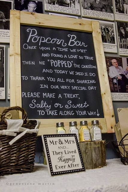 Great idea for a wedding, make your own popcorn bar. See more party ideas at CatchMyParty.com.