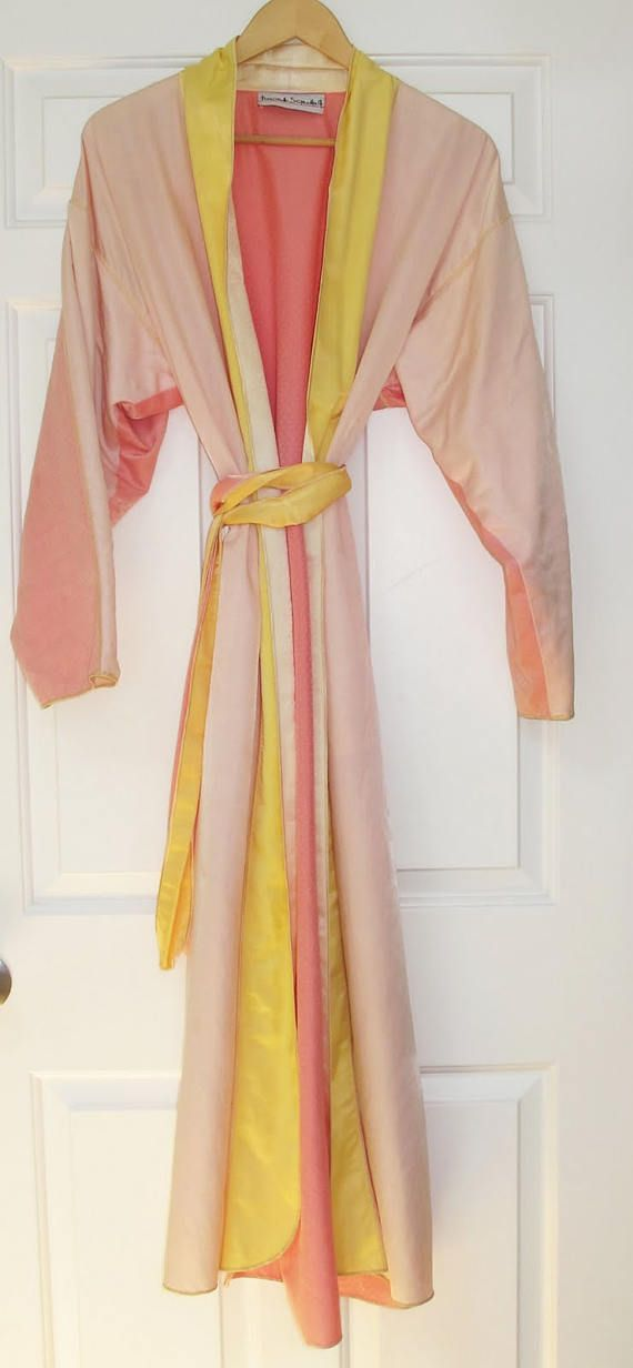 On SALE 1980s FERNANDO SANCHEZ Long Silky Satin Pink / Yellow / Orange Sherbet Robe / Dressing Gown