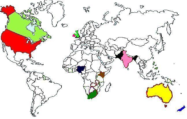 Carte des pays anglophones et fiche sur chacun des pays