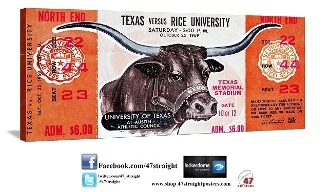 1969 Texas vs. Rice. Father's Day Gifts for Texas Longhorn fans. Texas Longhorns Gifts, Texas Longhorns Fathers Day Gifts, Texas Longhorns art. 1969 Texas Longhorns football ticket art on canvas. 1969 National Champions. #47straight Father's Day Sports Gifts. Texas Longhorns memorabilia. Vintage Texas Longhorns football tickets. Game room sports art.