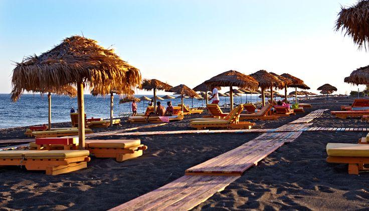Perissa beach - santorini, Greece   my favourite place on earth!