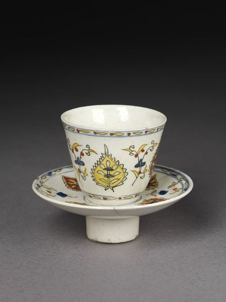 Cup and saucer | Made in Kütahya, Turkey, about 1725 | Materials: fritware, painted polychrome, glazed | A pottery industry was well-established in Kütahya by the 17th century; there are references to 'cup makers' of Kütahya in 1608 | VA Museum, London