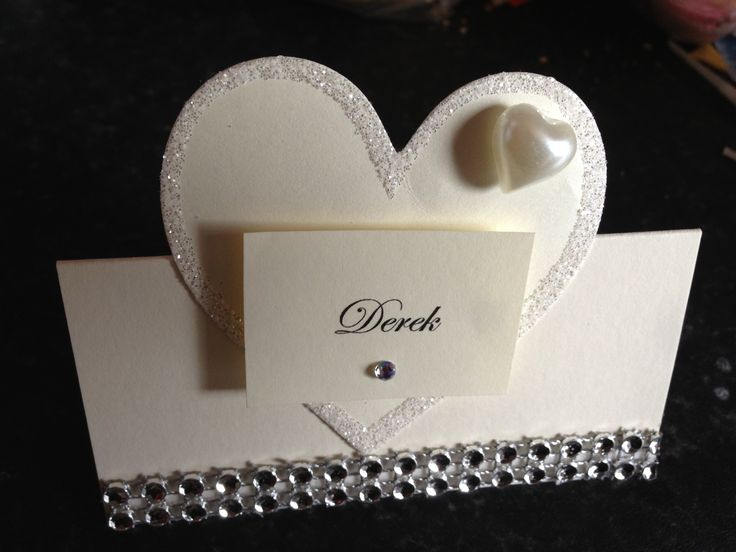 Wedding heart theme place name card