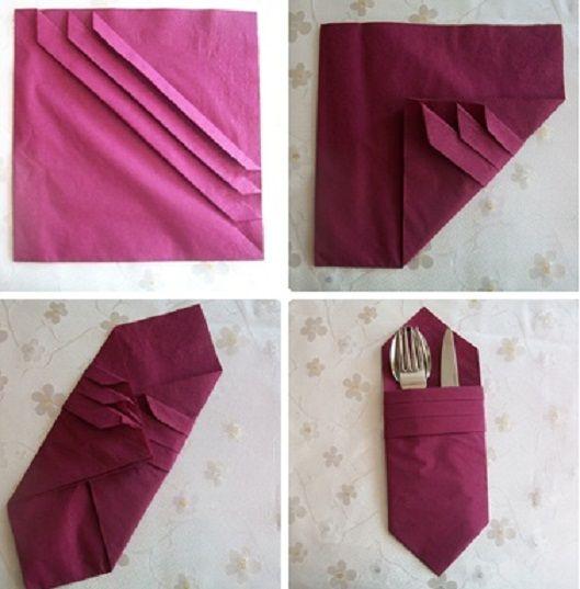 tek katlı üç çizgili cepli çatal kaşık bıçak yerleştirmeli bordo renk dikdörtgen şık peçete katlama yöntemi - Kadın Moda