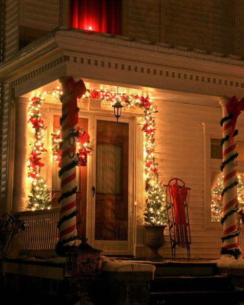 92 best images about christmas porch lights on pinterest for Patios decorated for christmas