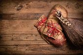 Vintage luvas de boxe e Saco de Boxe, com espaço para texto