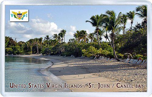 $3.29 - Acrylic Fridge Magnet: United States Virgin Islands. St. John. Caneel bay. Beach