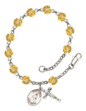 St. Odilia Silver-Plated Rosary Bracelet with 6mm Topaz Fire Polished beads