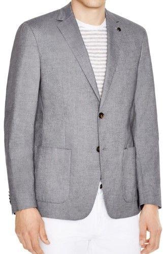 Michael Kors Gray Midnight Mens Size 40 Two Button Chambray Blazer