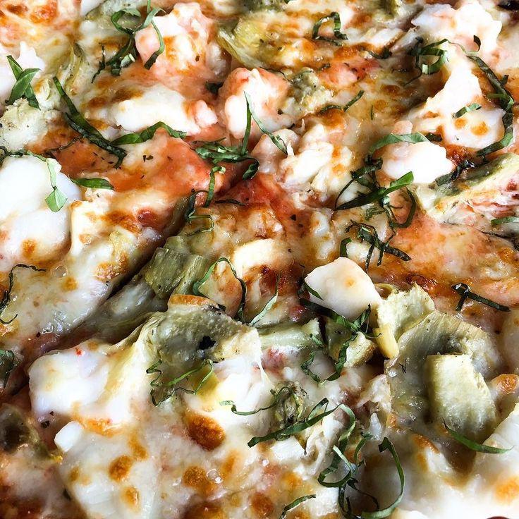 Pizza Special-shrimp crab scallops artichoke hearts basil roasted garlic mozzarella  #pizza #shrimp #ceab #scallops #artichoke #garlic #mozzarella #italian #kapalua #luckywelivehawaii