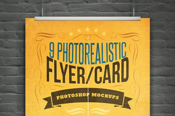 Realistic Flyer/Card Mock-Ups Vol.1 by Cruzine on Creative Market