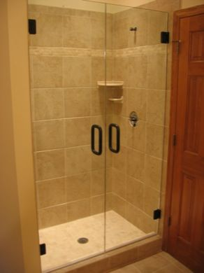 116 best frameless shower enclosures images on pinterest for Solid glass shower doors
