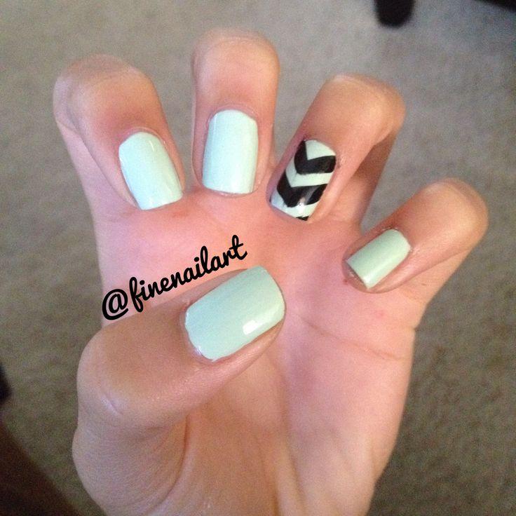 Mint, chevron nails.