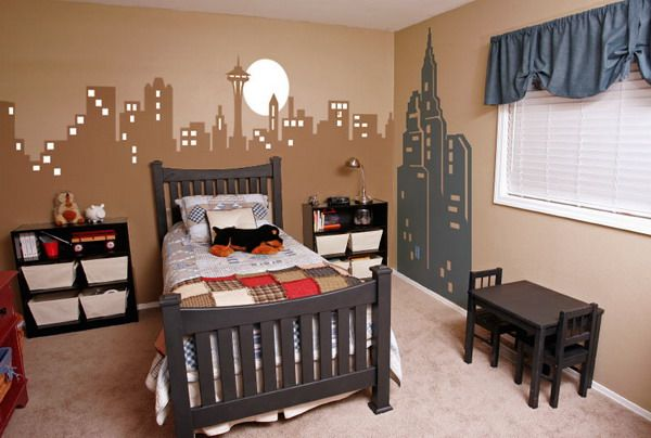 New york themed bedroom city wall murals bedroom for City themed bedroom ideas