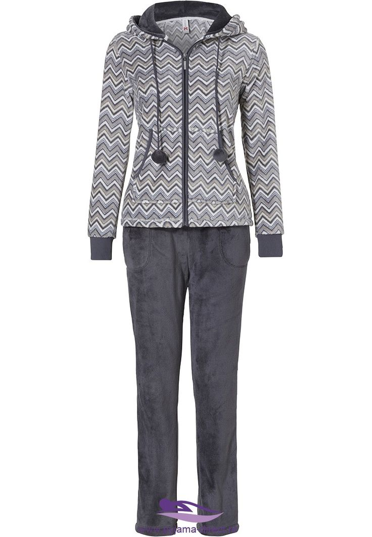 Look & feel great in this Rebelle 'trendy zigzags' striped grey, white and goldie-brown, warm fleece lounge-homesuit with hood, pom-poms and fleece bottoms