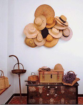 diy - decorating empty walls with hats