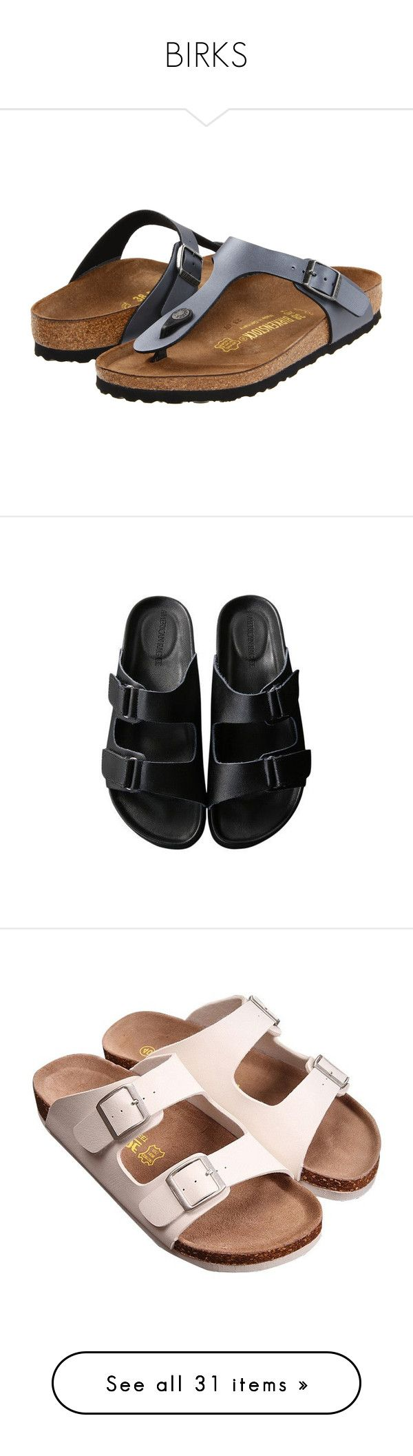 """BIRKS"" by chanelflowurs ❤ liked on Polyvore featuring shoes, sandals, special occasion sandals, cushioned shoes, evening sandals, birkenstock, shock absorbing shoes, black, clothes - shoes and american rag cie shoes"