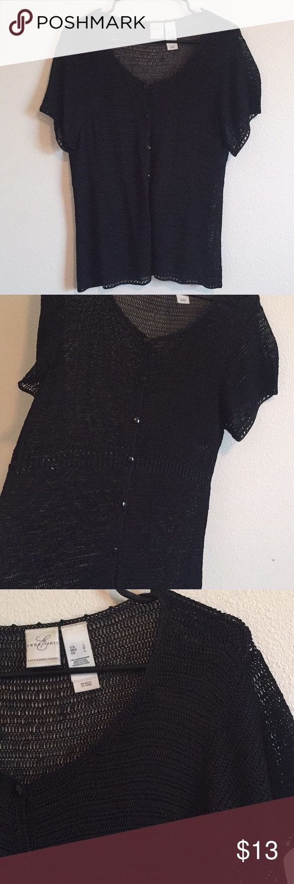 Emma James Crochet Knit Short-sleeve Sweater Like new condition. Buttons up front. Go's with almost anything! Perfect for the spring and summer weather. Emma James Tops