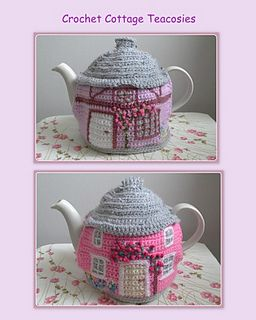 Not Free. Ravelry. The tea cosy is worked in dc (US sc) rows for the walls and dc rounds for the roof in double knitting yarn. Colour block crochet is used for the doors and windows - I have included an excellent tutorial site for anyone new to this.