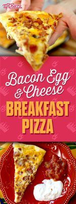 Bacon Egg & Cheese breakfast pizza. It's so easy! All you need is Pillsbury pizza dough, eggs, bacon and cheese. Perfect for brunch at home.   tipbuzz.com