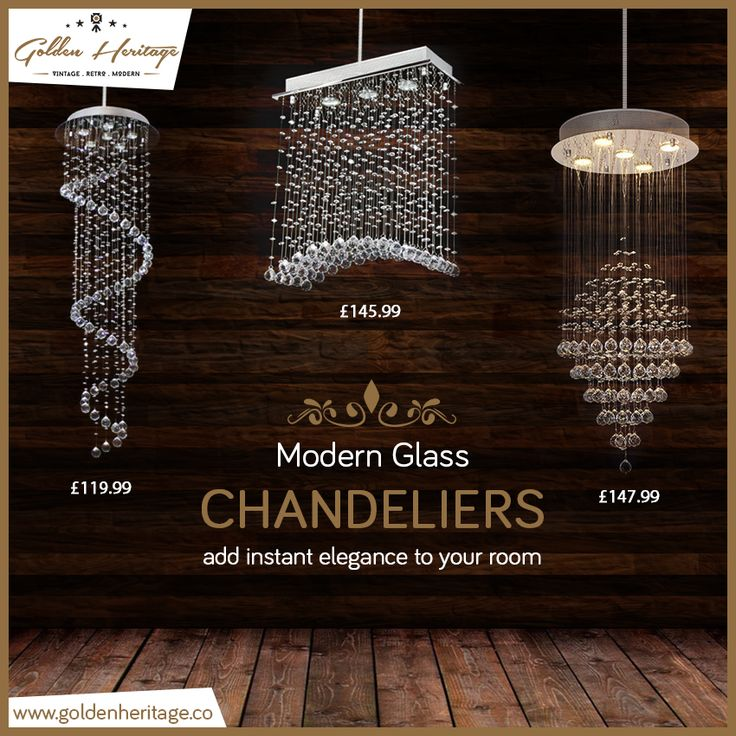 Add glam to your room with these modern clear crystal chandeliers.  #GoldenHeritage #KeepingHistoryAlive #vintage #homedecorideas #newhome #retro #modern #homedesignideas #chandelier