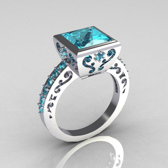 Classic Bridal 14K White Gold 2.5 Carat Square Princess Aquamarine Ring