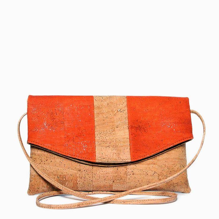 Clutch handbag made of cork