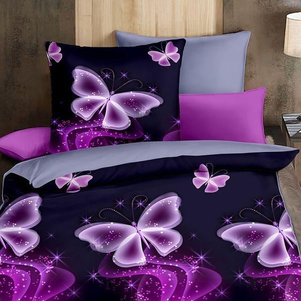 Joyfeel U Romantic 3d Butterfly Print Purple Bedding Set 3pcs Duvet Cover Set Comforter Bedclothes Single Double Queen King Size Home Purple Bedding Purple Bedding Sets Purple Bedroom Decor