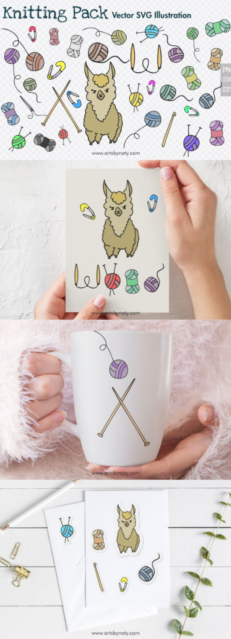 Knitting Cute Vector Illustration Pack. (Graphic) by ...
