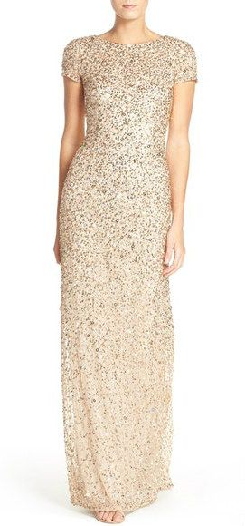 The perfect gold sequin gown with short sleeves | beautiful bridesmaid dresses or mother of the bride dress