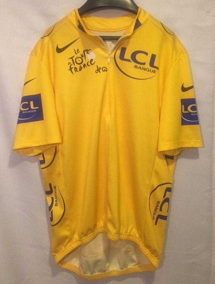 TOUR De FRANCE Nike LCL Banque YELLOW JERSEY Cycling cycle bike winner leader L #Nike