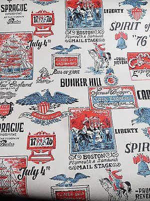 Vintage 1970s Boston Patriotic Wallpaper Eagle Paul Revere Bunker Hill Cape Cod