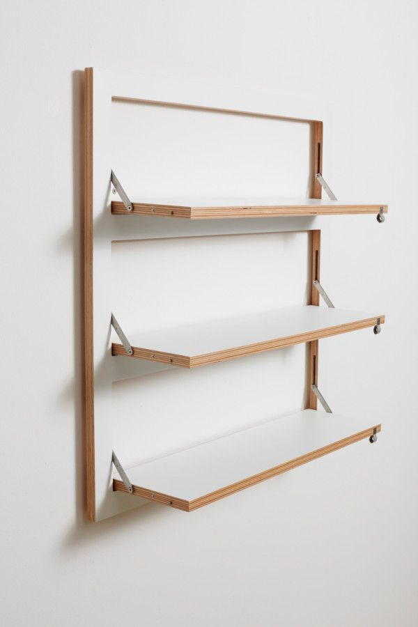 Fläpps is a flip down modular shelving system from AMBIVALENZ. http://design-milk.com/customizable-wall-mounted-shelving-ambivalenz/