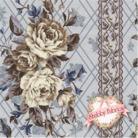 Kilala Antique Roses QKY201205-15E by QH Textiles: Kilala Antique Roses is a floral collection by QH Textiles. 100% cotton. This fabric features floral stripes on a blue background.