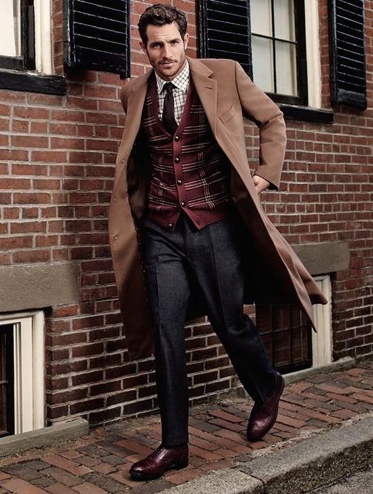 Camel coat, burgundy cardigan, brown window pane dress shirt, brown tie, charcoal trousers, burgundy oxford brogue shoes