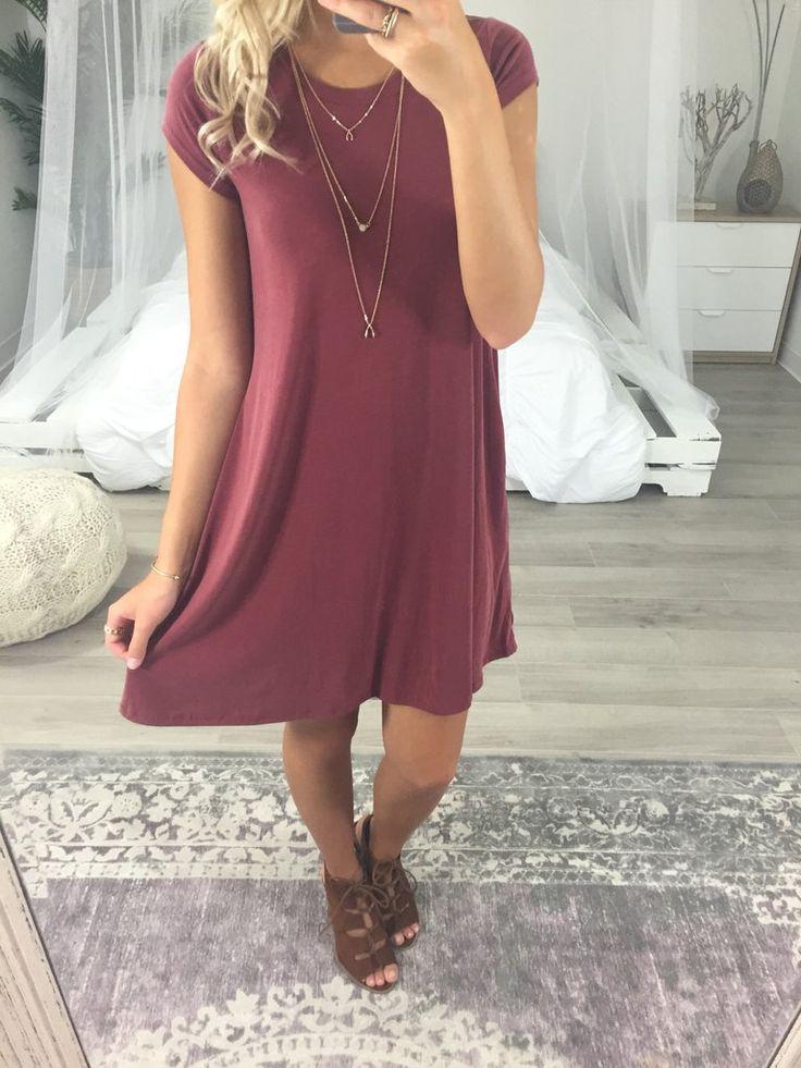 Lipari Islands Burgundy Short Sleeve T-Shirt Dress