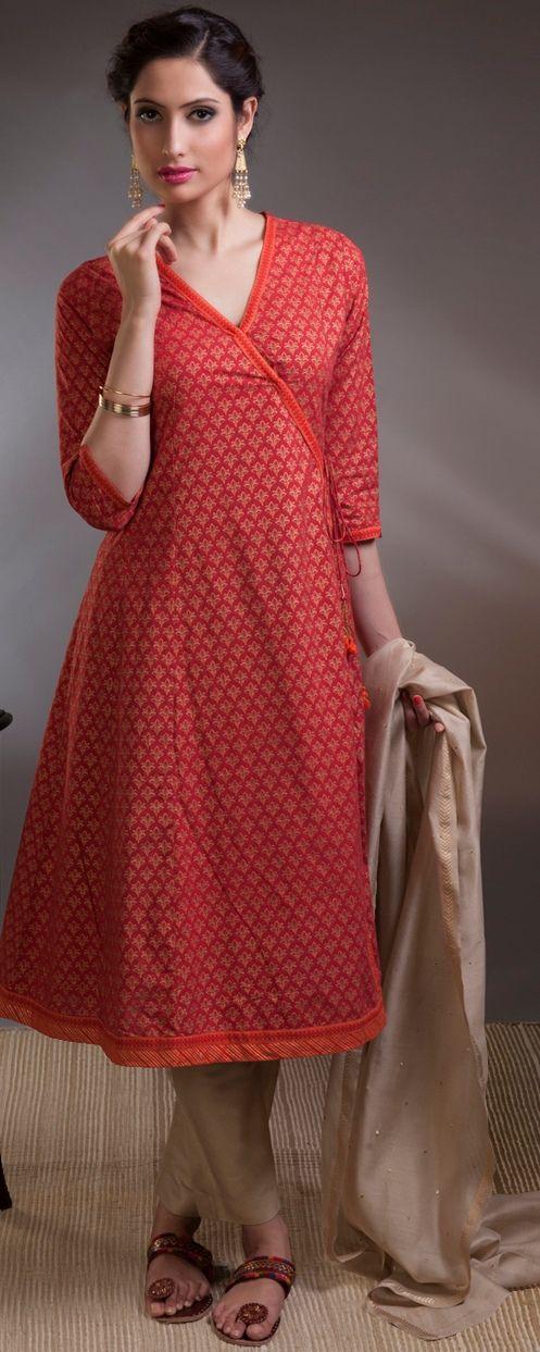 #prints #coral #vibrant #happy #angrakha #wrap-around #kurta #women #fashion #Fabindia