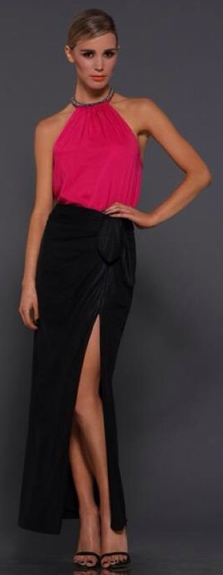 Erica is a sexy maxi skirt with split up side by Elle Zeitoune is perfect to dress up with a silk top or keep casual with a tank top.  #ellezeitoune #maxiskirt #eveningwear #blackskirt
