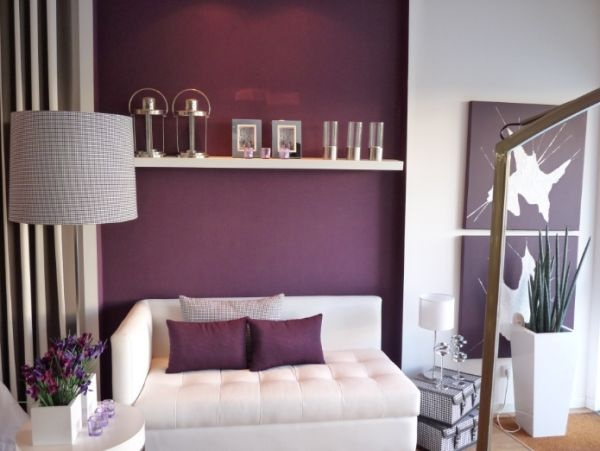 Deep purple bedroom accents, white sheets, black and white striped curtains. On my must haves