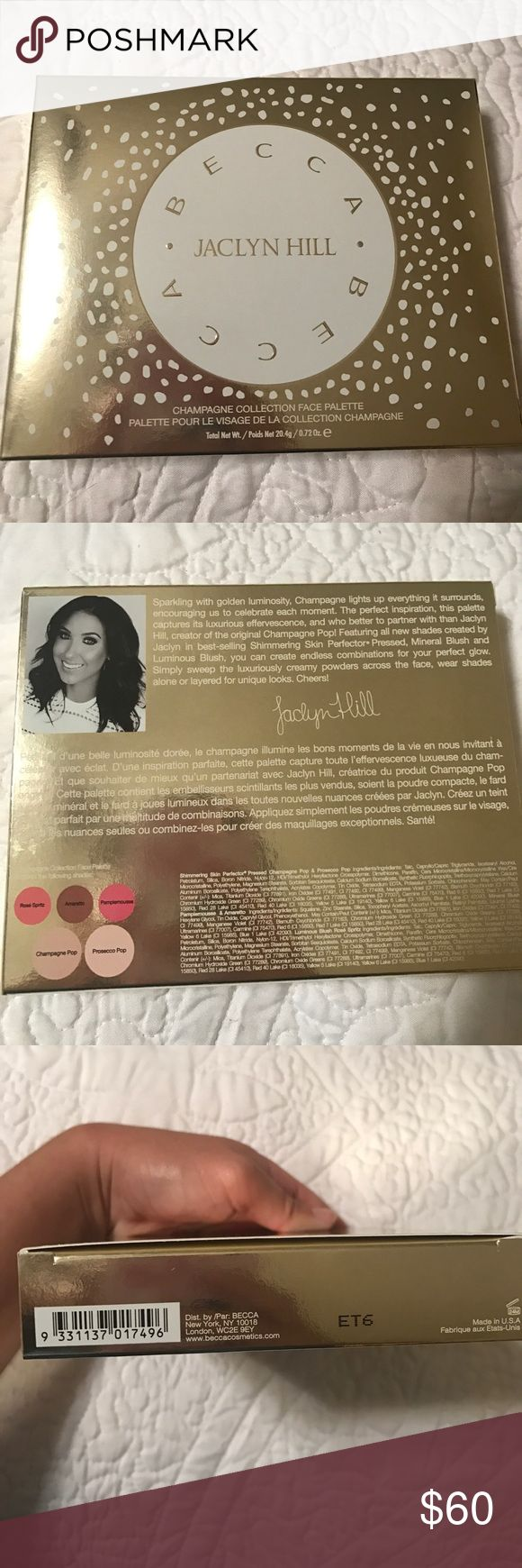 Becca X Jaclyn Hill Face Palette Brand new and never used, even has the protective film over the top as well as the sample that came with it! I I bought this for the hype when it was released but could never get myself to use it. It needs a new home! This palette was limited Edition and is no longer being sold in stores. BECCA Makeup Luminizer