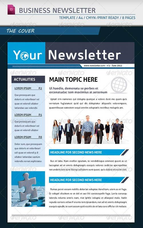 One Page Electronic Newsletter Templates on