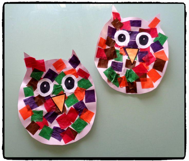 collage de papier, chouette, hibou, bricolage automne