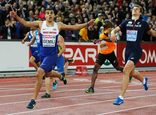 Adam Gemili (TP016954) European Athletics Championships 2014 Poster , Adam Gemili of Great Britain and Northern Ireland celebrates winning gold ahead of silver medalist Christophe Lemaitre of France in the Men's 200 metres final during day four of the 22nd European Athletics Championships at Stadium Letzigrund in Zurich, Switzerland